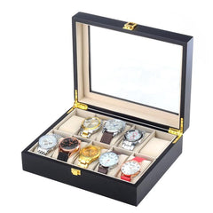 10 Slots Black Matte Wood Watch Storage Box - Starzdeals
