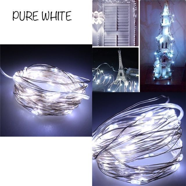 10 Meters 100 Led Battery Operated Silver Wire with 8 Modes + Remote Control, Pure White.