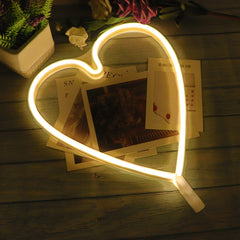 Hearts Neon Light, Powered by USB / Battery Operated, Warm White