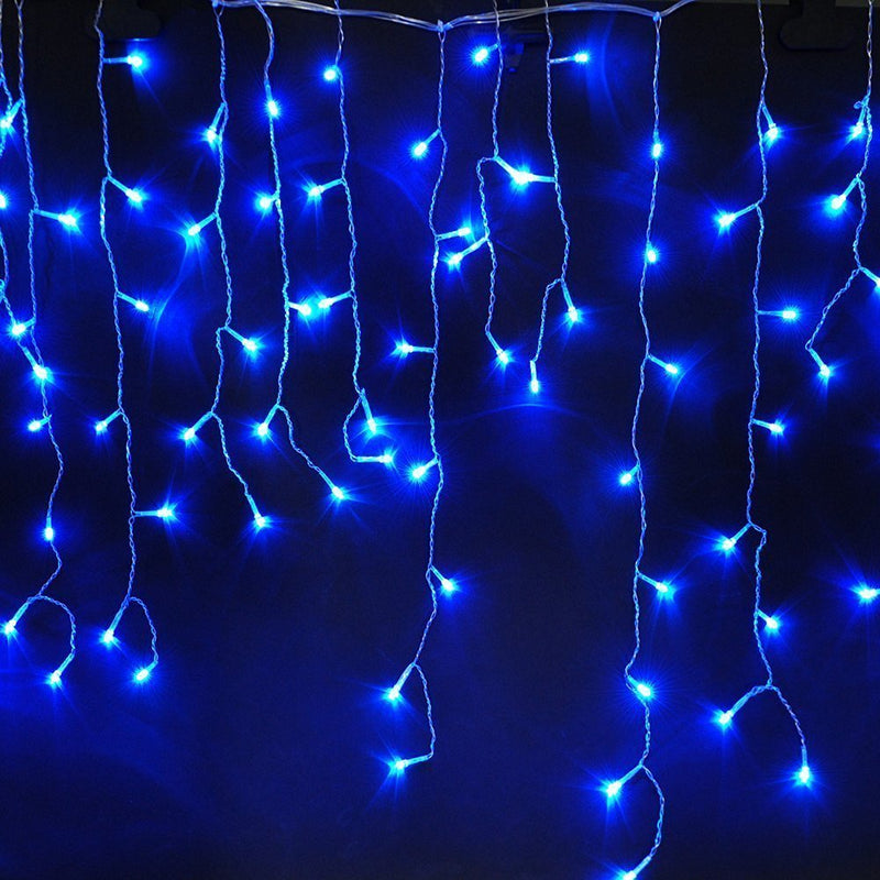 8 Modes - 3 Meter 188 Led Fairy Curtain Lights Power Point, Blue.