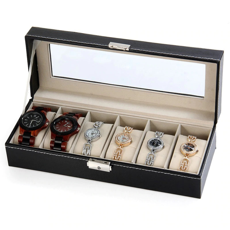 6 Slot Black PVC Watch Storage Box.