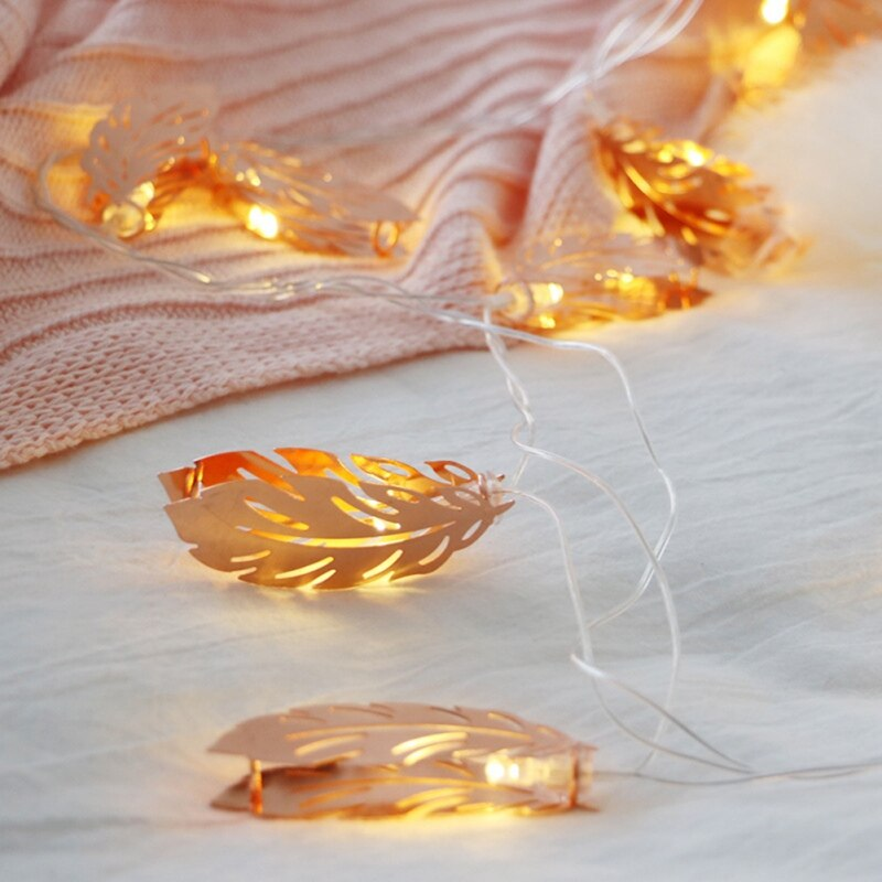 4 Meters 20 Rose Gold Leaves Battery Operated Fairy String Lights
