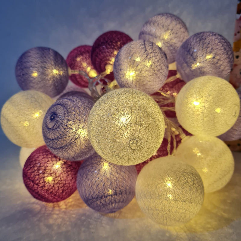 Battery Operated - 4.5 Meter 30 (6 cm) Cotton Balls Fairy String Light , Warm White