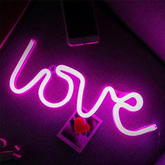 LOVE Neon Light, Powered by USB / Battery Operated, Purple