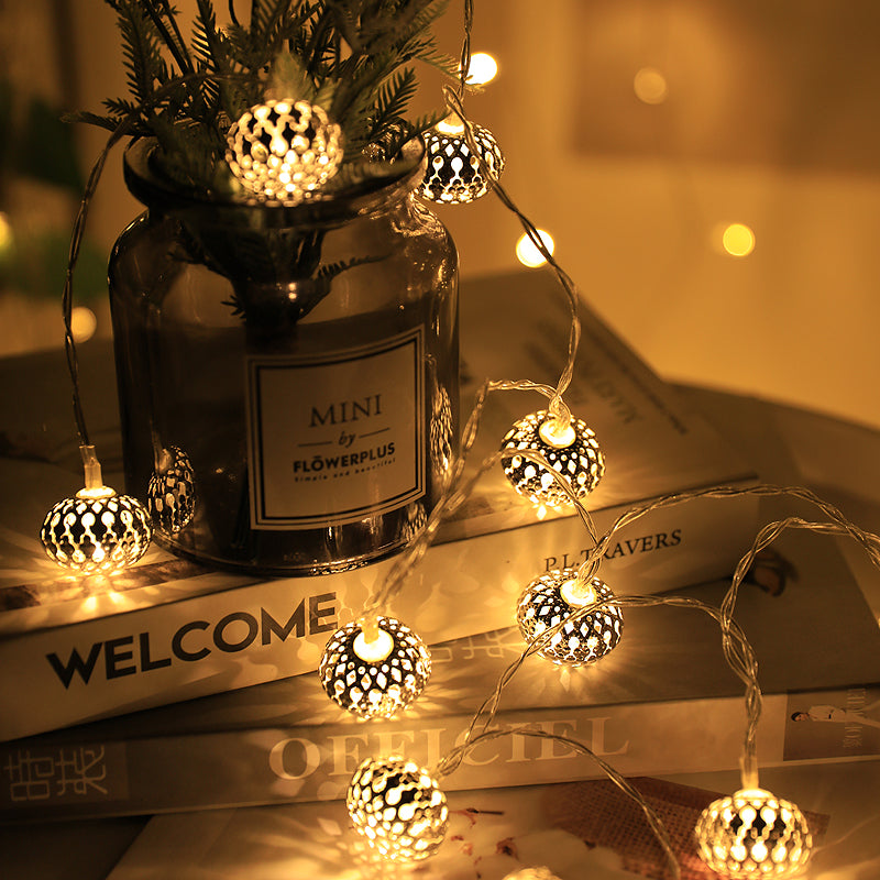 4 Meters 20 Rose Gold Flat Base Balls (3cm) Battery Operated Fairy String Lights