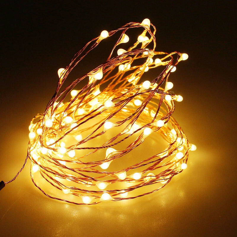 3 Meter 30 Led Battery Operated Copper/Silver Wire , Warm White.