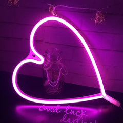 Hearts Neon Light, Powered by USB / Battery Operated, Pink