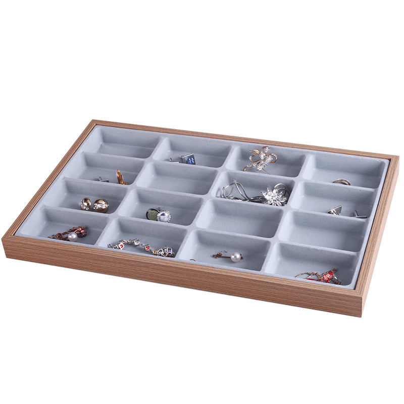 16 Slots Wooden Jewelry Storage Tray