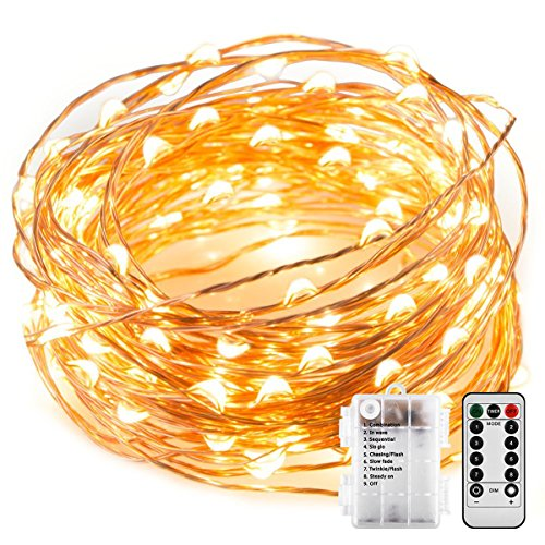 10 Meters 100 Led Battery Operated Copper Wire with 8 Modes + Remote Control, Warm White