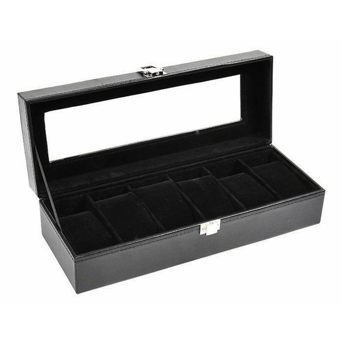 6 Slot Black PVC Inner Black Watch Storage Box
