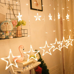 USB 2.5 Meter 12 Stars Curtain Lights Power Point, Warm White + Remote Control