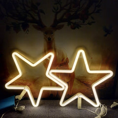 Stars Neon Light, Powered by USB / Battery Operated, Warm White