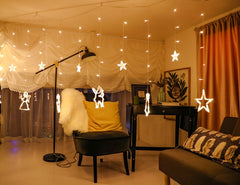 8 Modes - 3.5 Meter Christmas Curtain Lights Power Point, Warm White