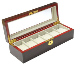 6 Slot Dark Rose Wood Watch Storage Box - Starzdeals
