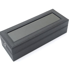 6 Slots Custom Made PVC Jewelry Display Watch Storage Box, Black