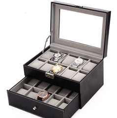 20 Slots Black PVC Inner Grey Watch Storage Box.