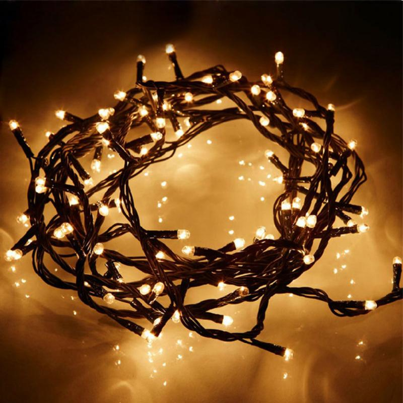 8 Modes - 10 Meter 100 Led Fairy Black String Light Power Point , Warm White - Starzdeals
