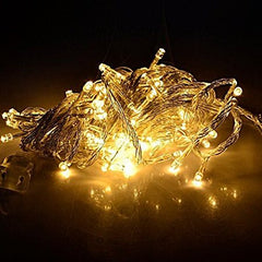 Static Mode - 10 Meter 100 Led Fairy String Light Power Point , Warm White - Starzdeals