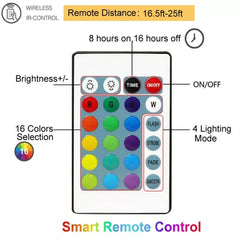 16 Colors - 10 Meter 100 Led RGB Silver Wire Battery Operated + Remote Control.