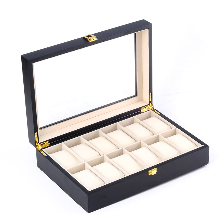 12 Slots Black Matte Wood Watch Storage Box