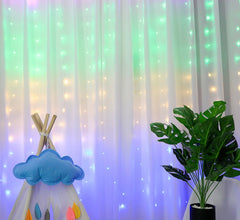 USB Operated - 3 Meter x 3 Meter 300 Led Fairy Curtain Lights , Rainbow