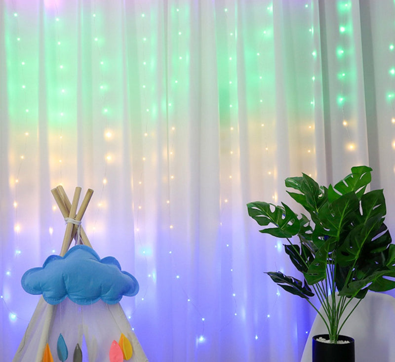 USB Operated - 3 Meter x 2 Meter 200 Led Fairy Curtain Lights , Rainbow