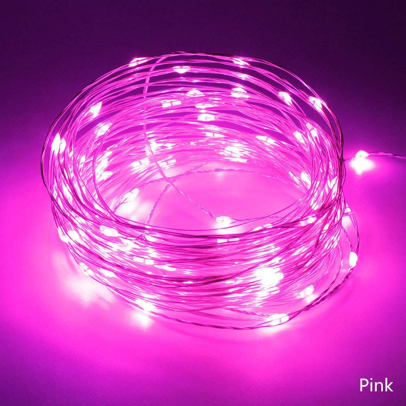 Static Mode - 10 Meters 100 Led USB Silver Wire String Light, Pink