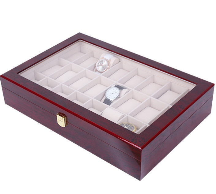 24 Slots Luxury Wooden Watch Storage Box