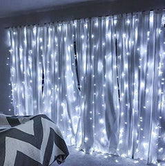 3 Meter x 2 Meter 200 Led Battery Operated Curtain Lights, Pure White - Starzdeals