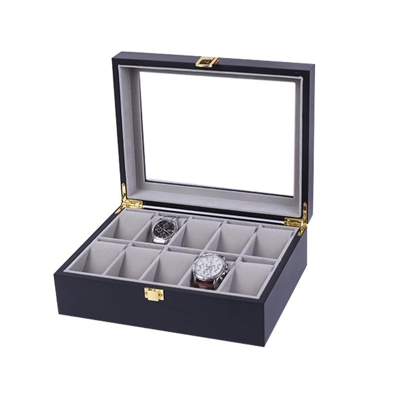 10 Slots Black Matte Wood with Inner Gray Watch Storage Box