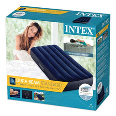 Intex Fiber Tech Dura Beam Single Size (76cm) Air Mattress + Electric Pump - Starzdeals