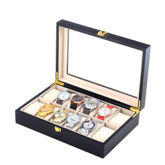 12 Slots Black Matte Wood Watch Storage Box.