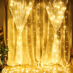 8 Modes - 3 Meter x 3 Meter 300 Led Curtain Lights Power Point , Warm White - Starzdeals