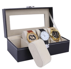 4 Slot Black PVC Watch Storage Box