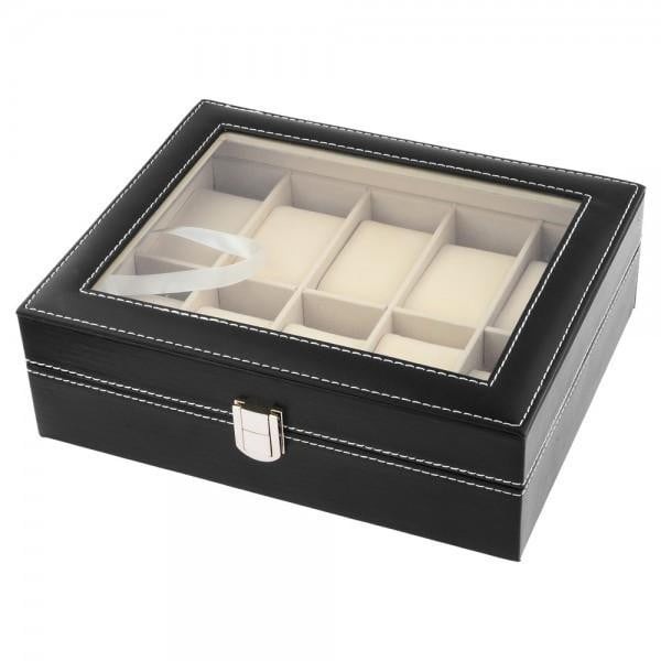 10 Slots Black PVC Watch Storage Box