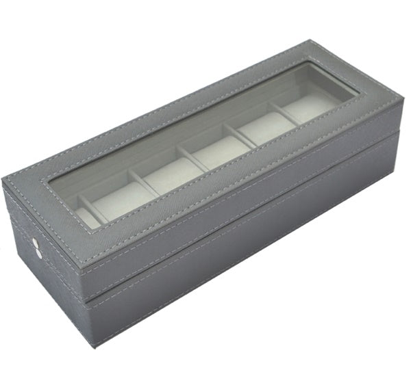 6 Slots Custom Made PVC Jewelry Display Watch Storage Box , Gray - Starzdeals