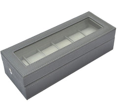 6 Slots Custom Made PVC Jewelry Display Watch Storage Box , Gray.