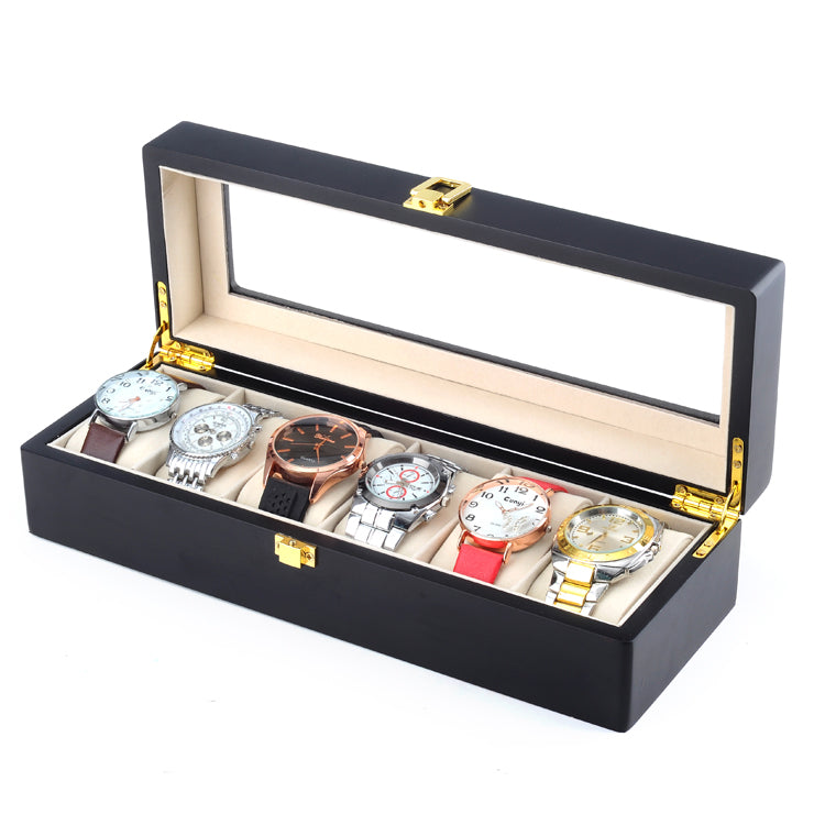 6 Slots Black Matte Wood Watch Storage Box - Starzdeals