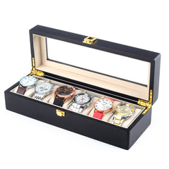 6 Slots Black Matte Wood Watch Storage Box.
