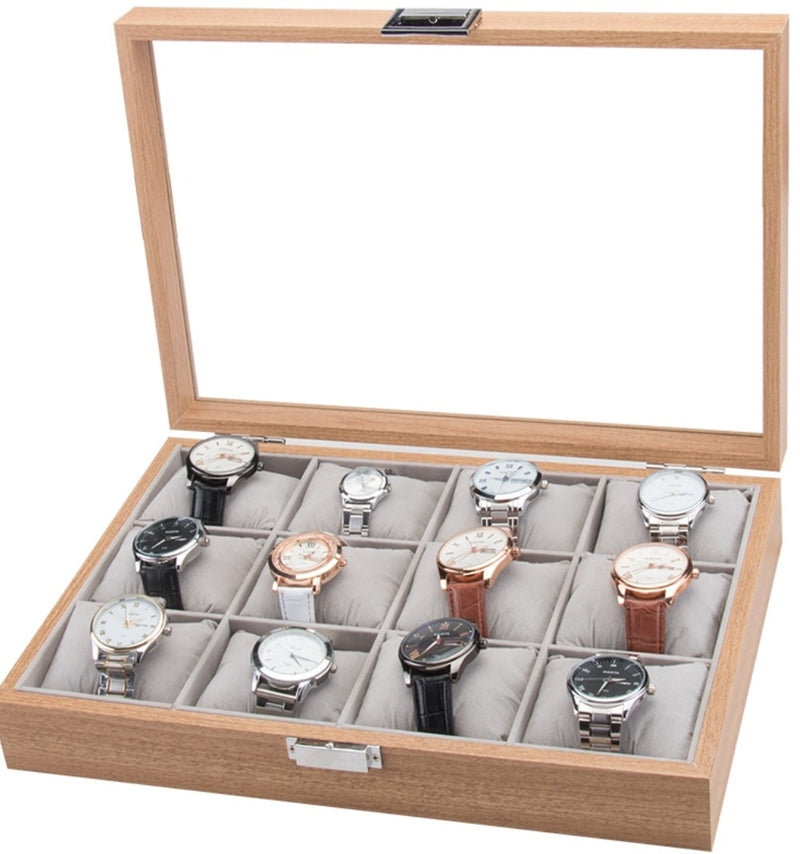 12 Slots + Soft Cushions Wooden Watch Jewelry Storage Box.