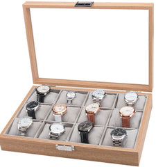 12 Slots + Soft Cushions Wooden Watch Jewelry Storage Box