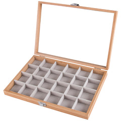 24 Grids Wooden Watch Jewelry Storage Box