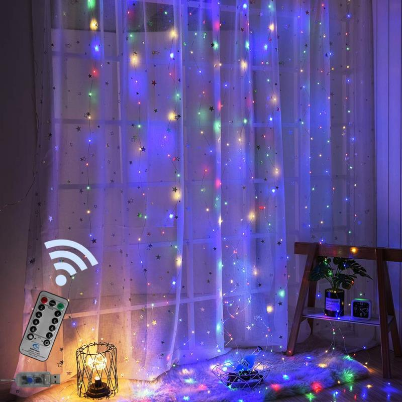USB Operated - 3 Meter x 2 Meter 200 Led Fairy Curtain Lights , Multi