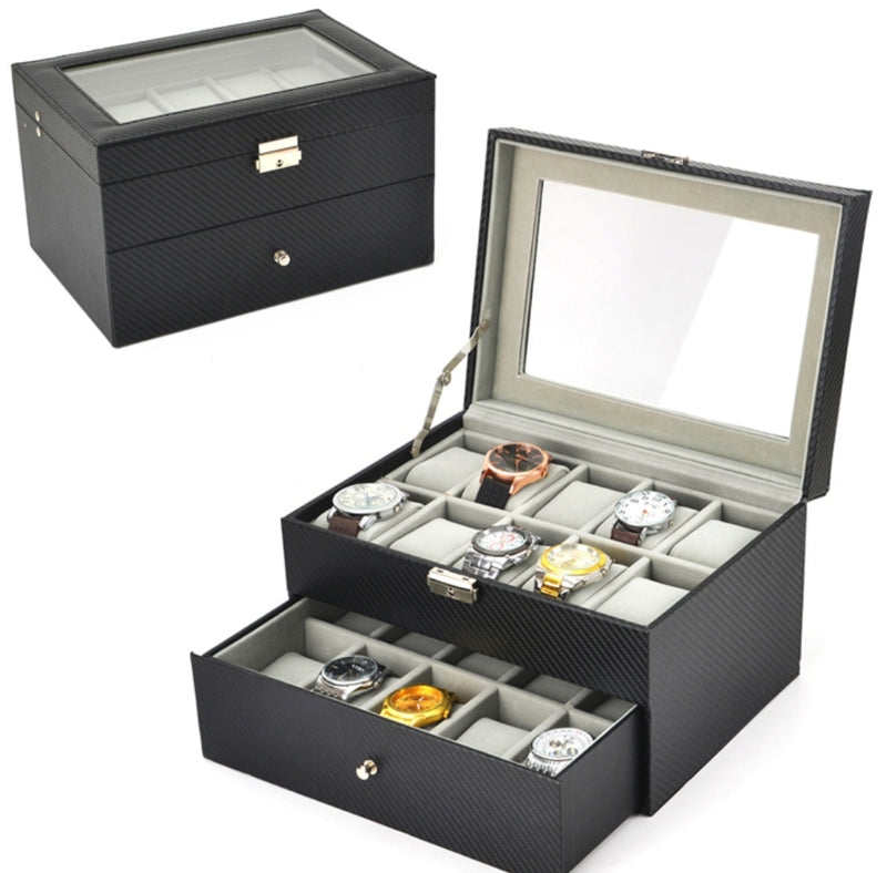 20 Slots Carbon Fiber Watch Jewelry Storage Box