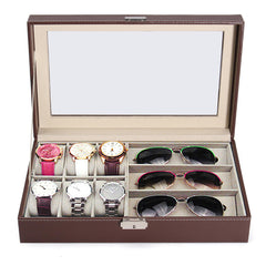 6 Slot Watch + 3 Spectacles Compartment Storage Box
