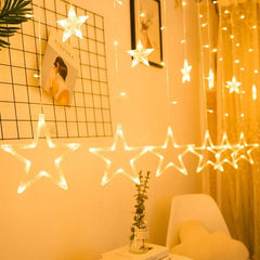 8 Modes - 2.5 Meter 12 Stars Curtain Lights Power Point, Warm White