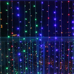8 Modes - 3 Meter x 3 Meter 300 Led Curtain Lights Power Point , Multi - Starzdeals