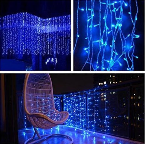 8 Modes - 3 Meter x 1 Meter 200 Led Curtain Lights Power Point, Blue