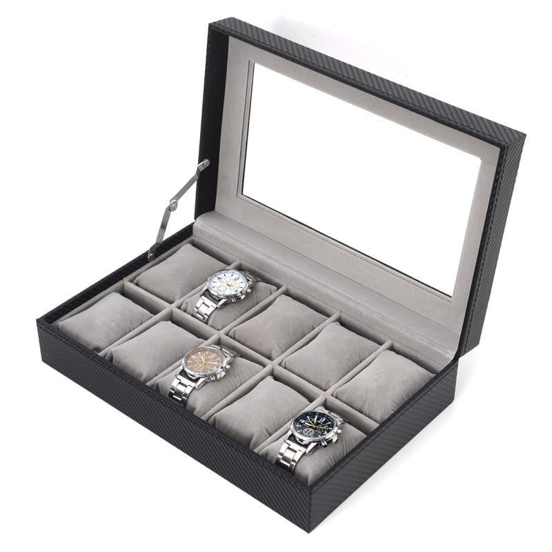 10 Slots Carbon Fiber Soft Cushions Jewelry Watch Box - Starzdeals