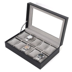 10 Slots Carbon Fiber Soft Cushions Jewelry Watch Box.